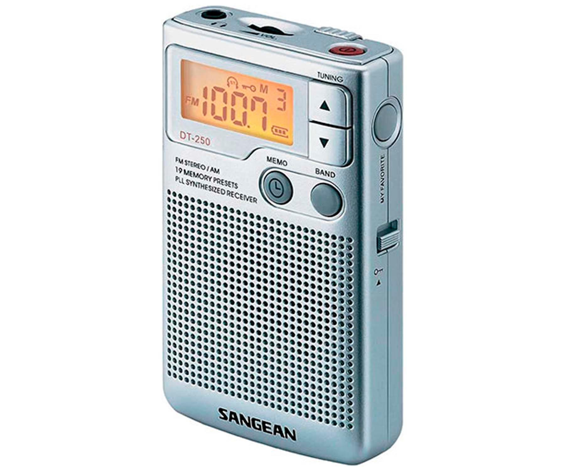 SANGEAN DT-250 PLATA RADIO PORTÁTIL AM/FM DBB CON ALTAVOZ