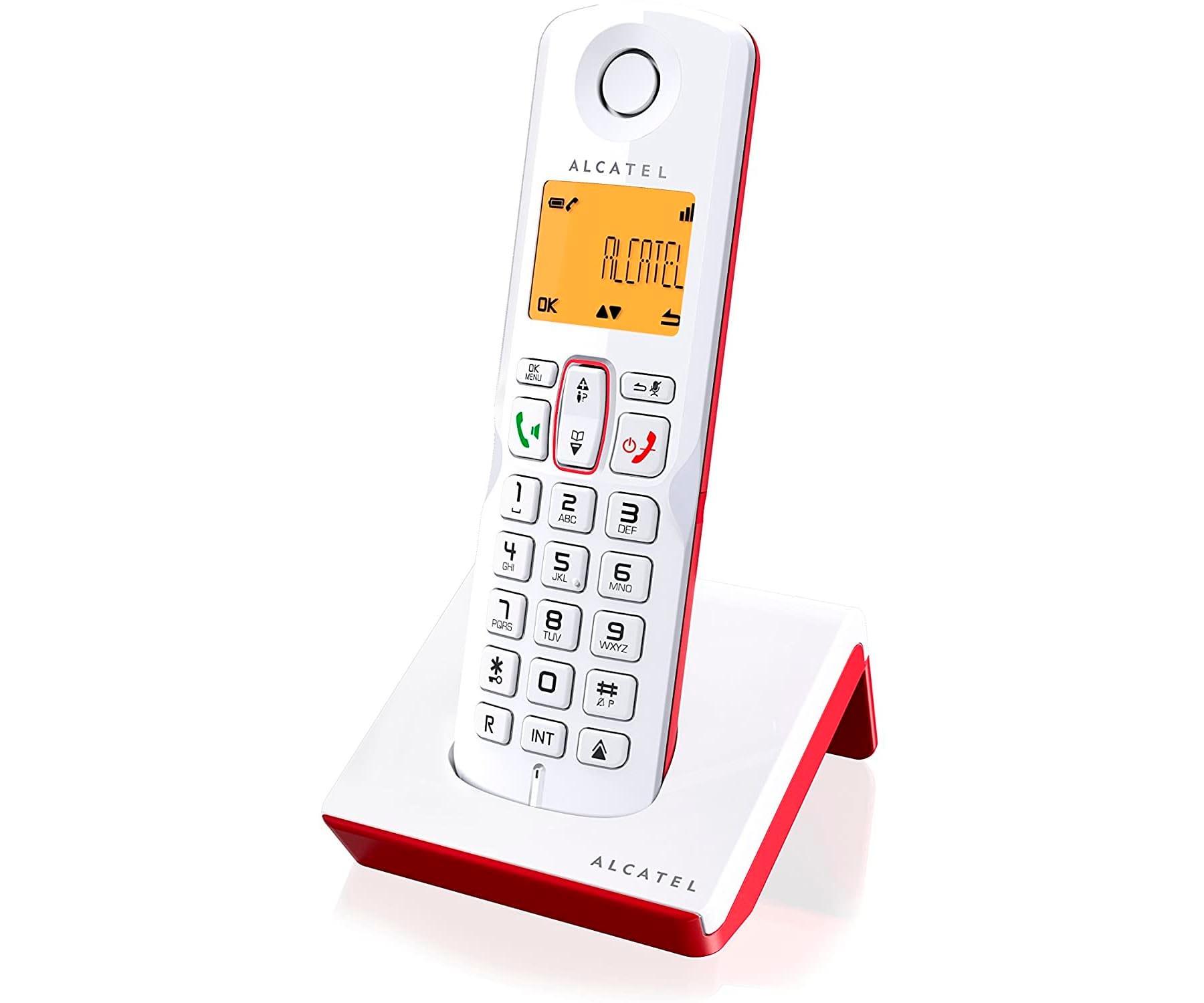 ALCATEL S250 BLANCO/ROJO TELÉFONO FIJO INALÁMBRICO PANTALLA RETROILUMINADA BLOQUEO DE LLAMADAS