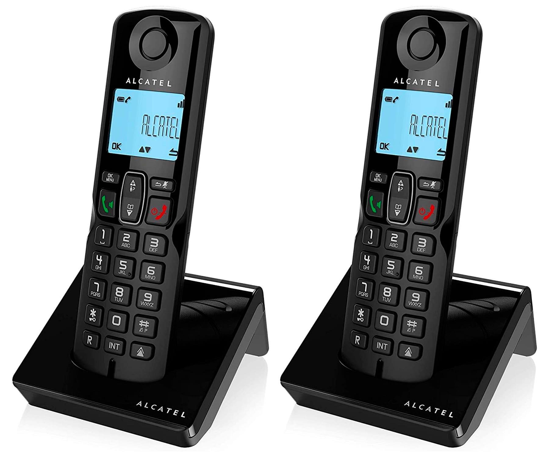 ALCATEL S250 NEGRO DUO TELÉFONOS FIJOS INALÁMBRICOS PANTALLA RETROILUMINADA BLOQUEO DE LLAMADAS
