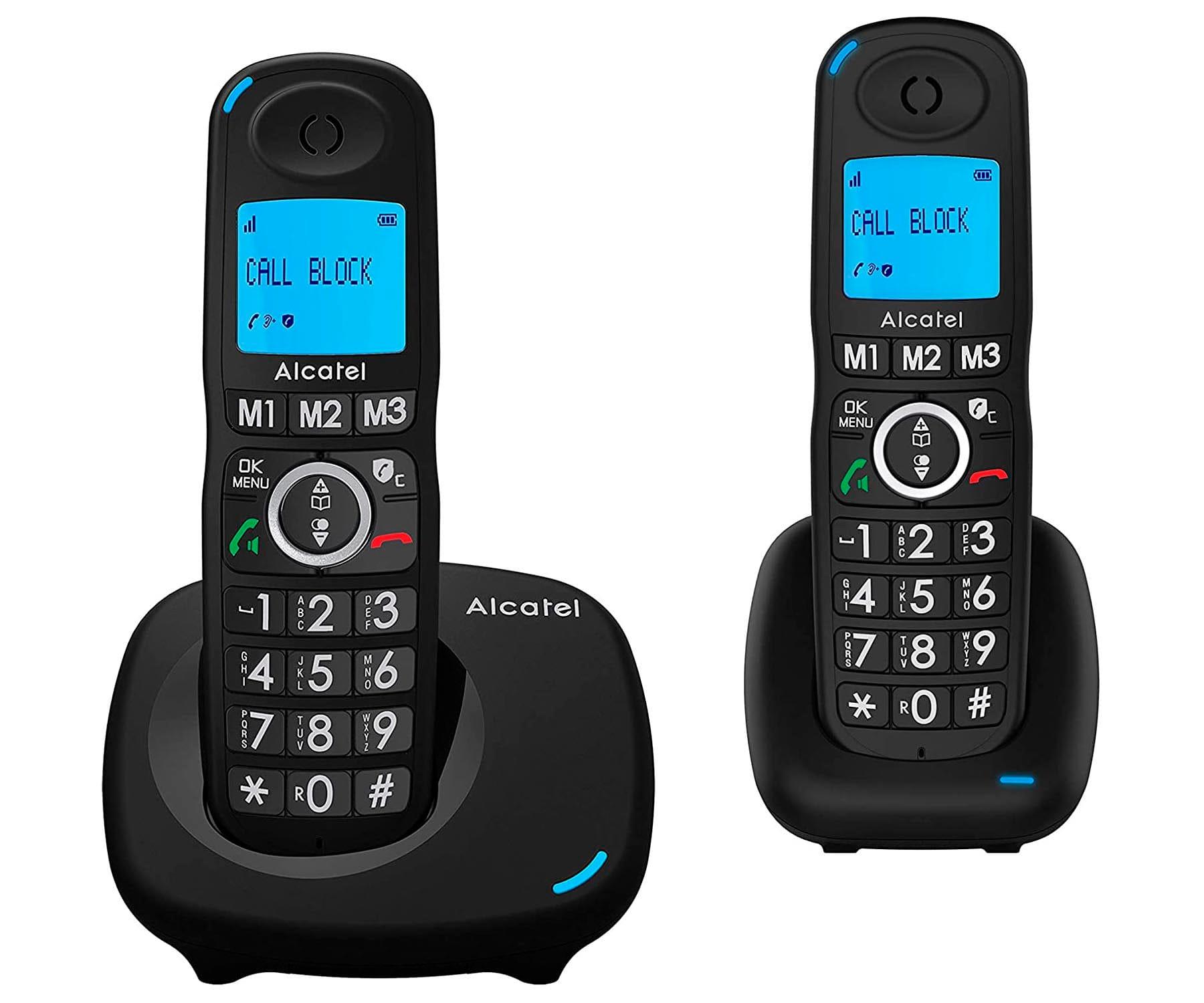 ALCATEL XL535 NEGRO DUO TELÉFONOS FIJOS INALÁMBRICOS PANTALLA RETROILUMINADA