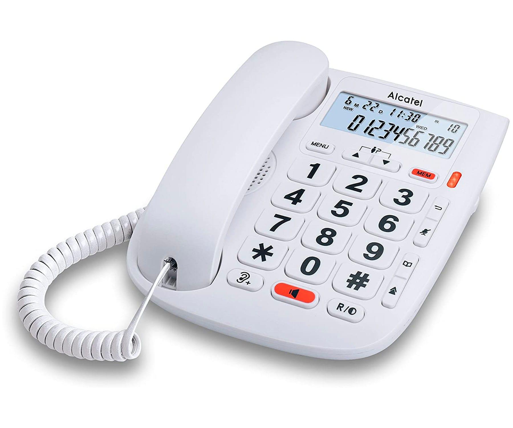 ALCATEL TMAX20 BLANCO TELÉFONO FIJO CON CABLE TECLAS GRANDES MANOS LIBRES