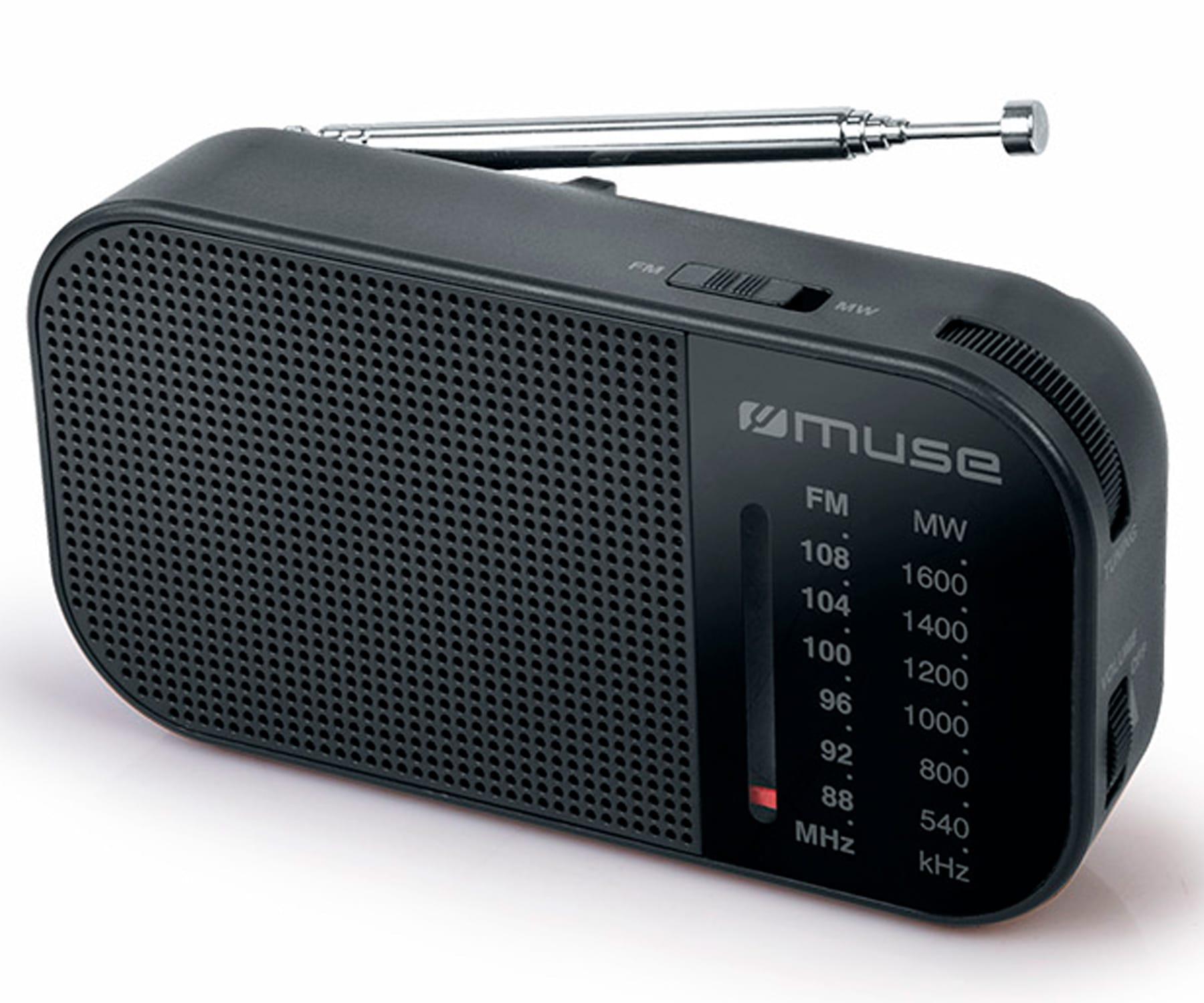 MUSE M-025 R NEGRO RADIO ANALÓGICA AM/FM PORTÁTIL CON ALTAVOZ INTEGRADO