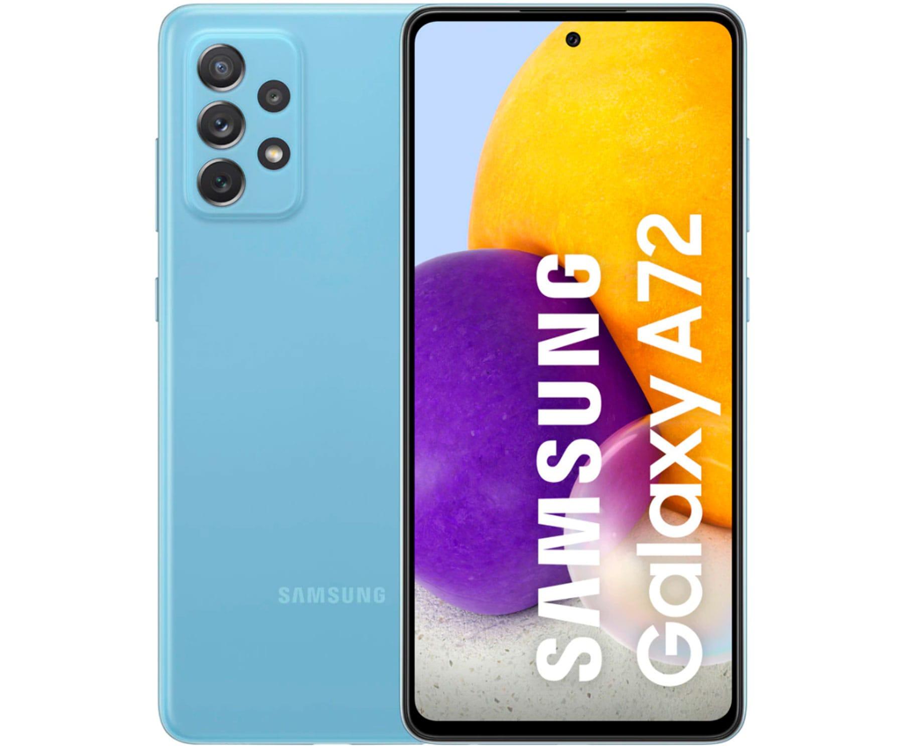 SAMSUNG GALAXY A72 AZUL MÓVIL 4G DUAL SIM 6.7'' FHD+ OCTACORE 256GB 8GB RAM QUADCAM 64MP SELFIES 32MP