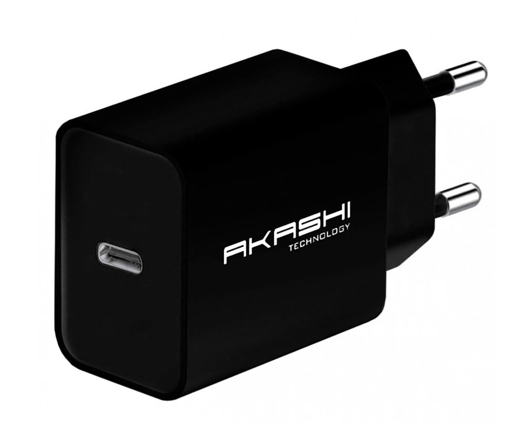 AKASHI CARGADOR DE PARED/NEGRO/20W/USB-C