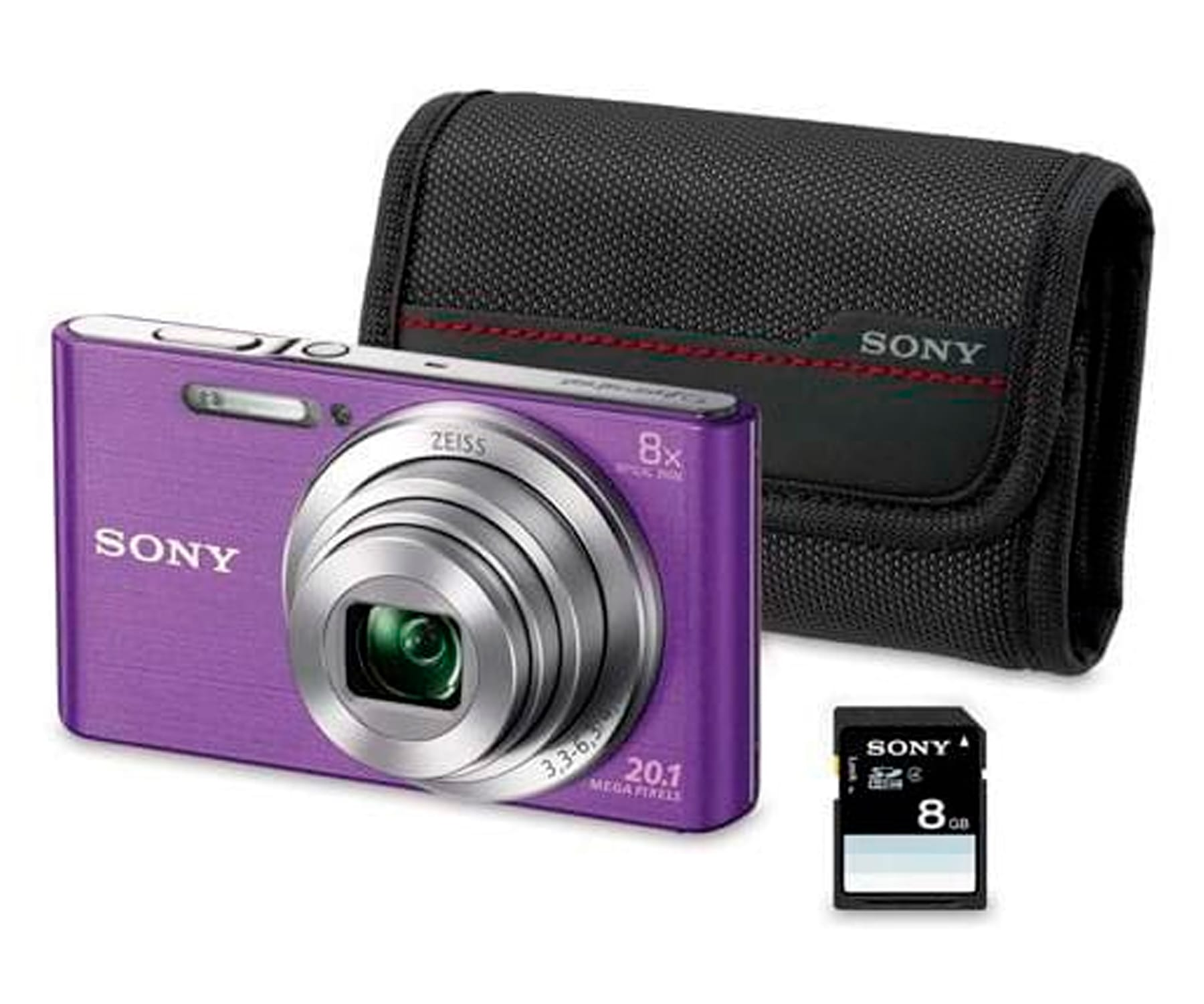 SONY DSCW830V KIT CÁMARA DE FOTOS 20.1 MP LILA + FUNDA + 8GB