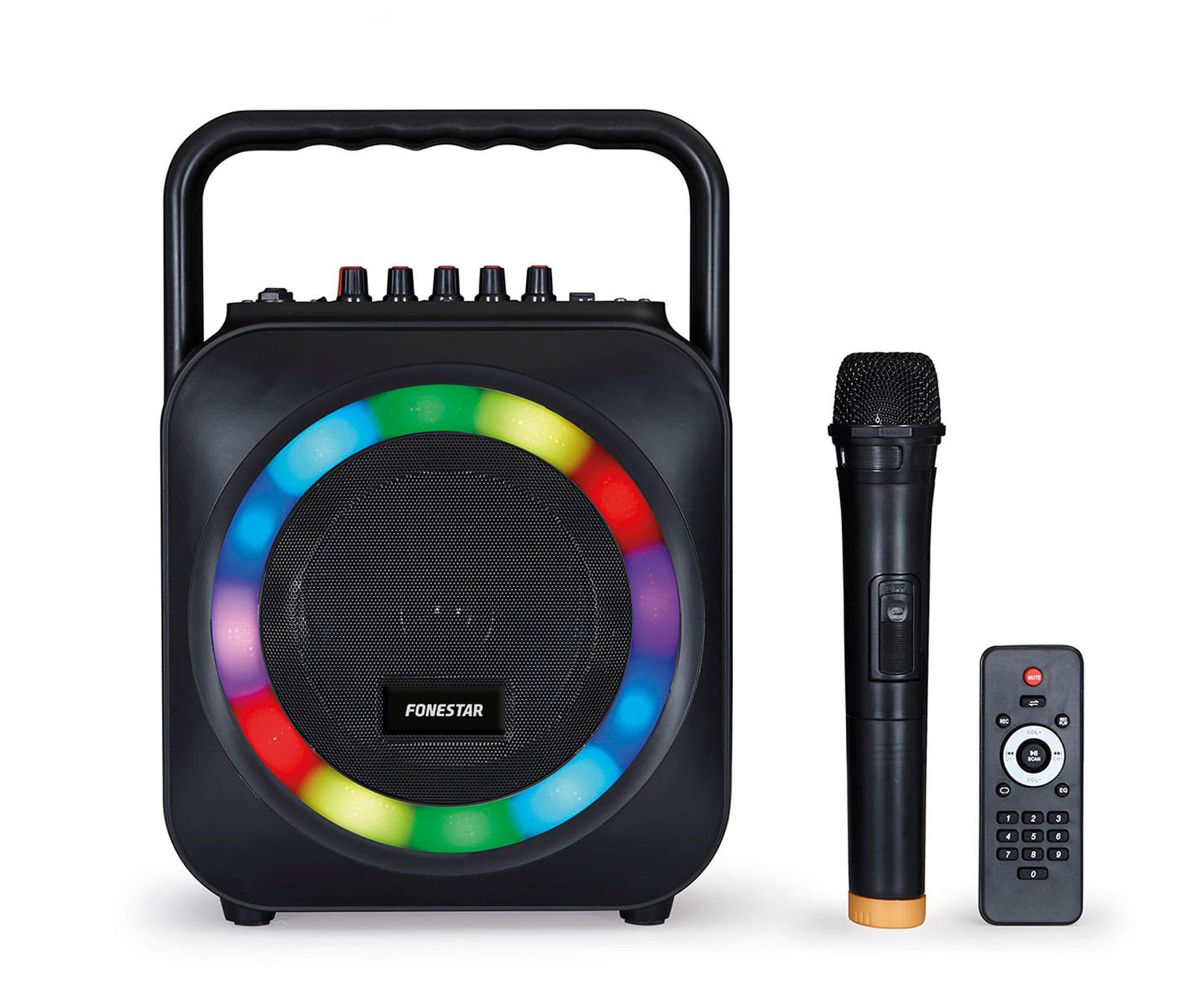 FONESTAR BOX-35LED ALTAVOZ PORTÁTIL KARAOKE BLUETOOTH USB SD LUCES LED