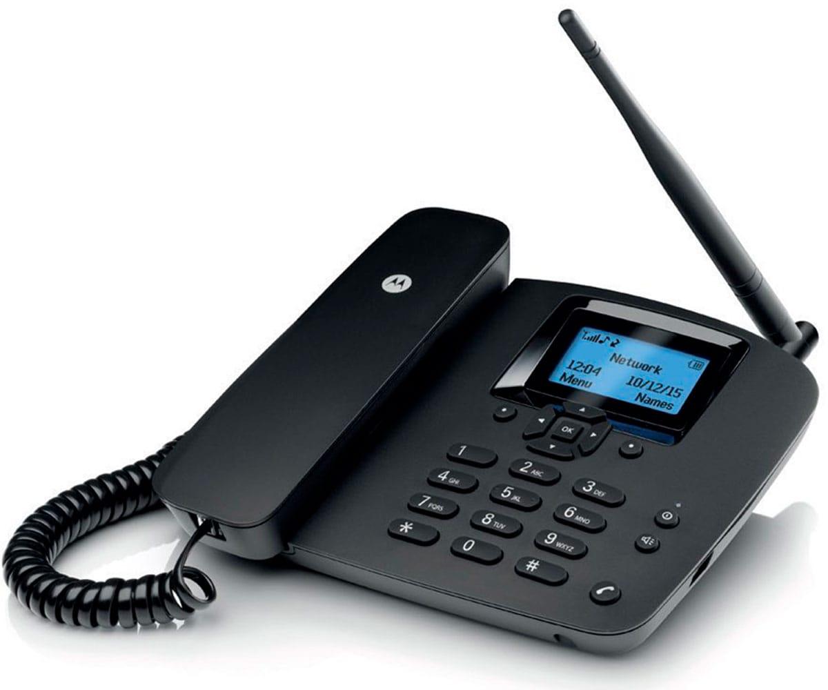 MOTOROLA FW200L NEGRO TELEFONO FIJO INALAMBRICO SIM 2G GSM CON BATERIA AUXILIAR