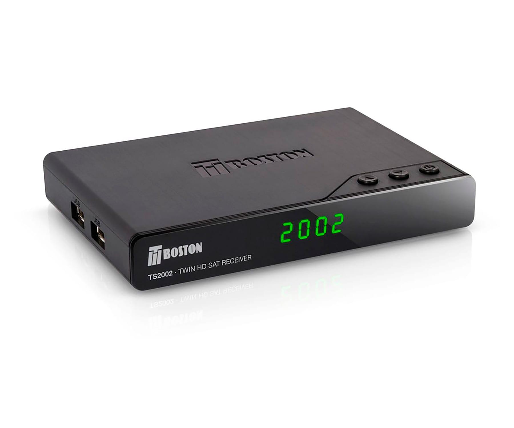 TBOSTON TS2002 RECEPTOR SATÉLITE HD TWIN DVB-S2 HD ANTENA WIFI USB PVR TIMESHIFT USB REPRODUCTOR MULTIMEDIA