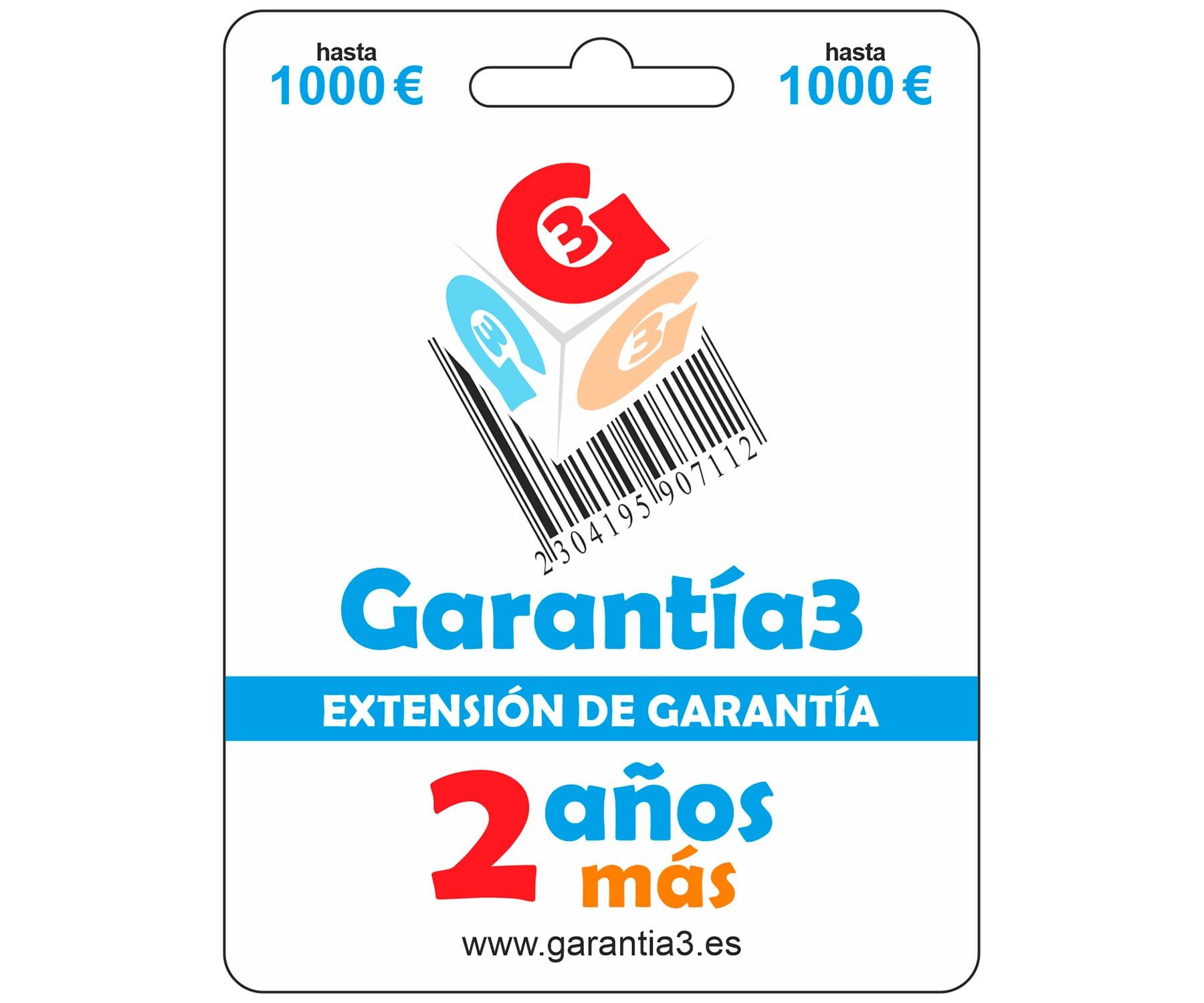 GARANTÍA 3 EXTENSIÓN DE LA GARANTÍA DE 3 AÑOS A LA GARANTÍA OFICIAL CON COBERTURA DE 1.000€
