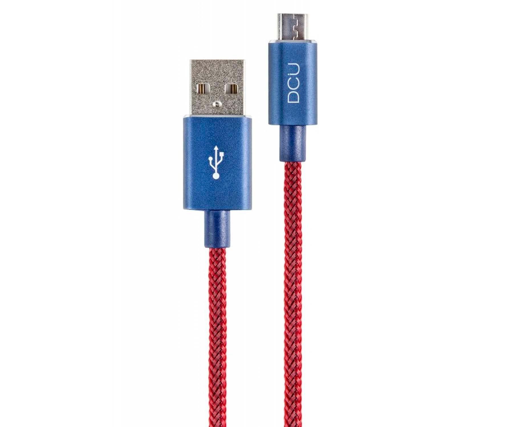 DCU CABLE ROJO DE TELA CON CONECTOR AZUL DE ALUMINIO CONEXIÓN USB A MICRO USB 2M