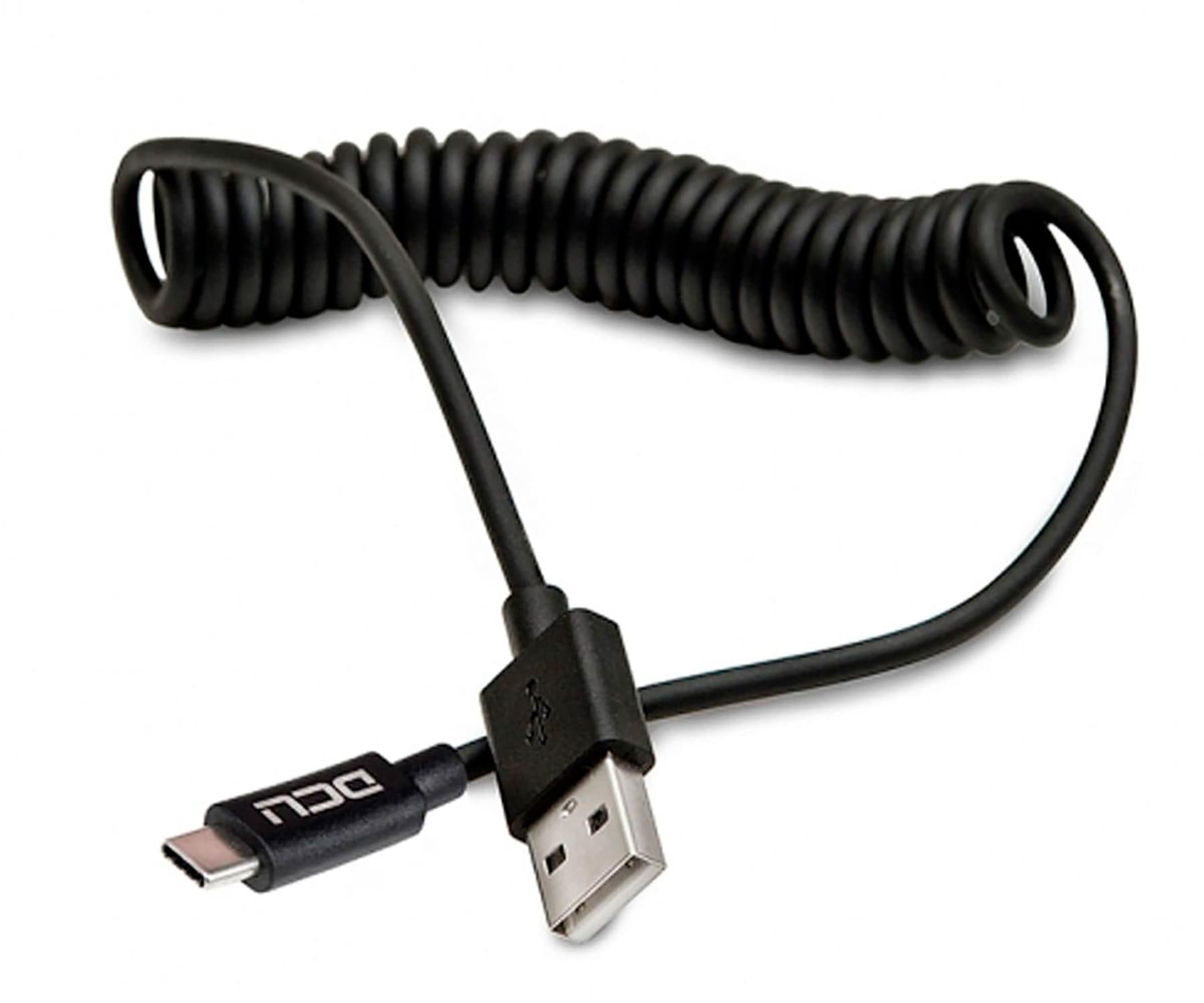 DCU NEGRO CABLE RIZADO USB TIPO A 2.0 A USB TIPO C 1,5 METROS